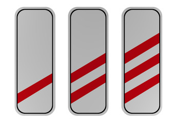 Verkehrszeichen: drei-, zwei- und einstreifige Baken vor Bahnübergängen für rechts