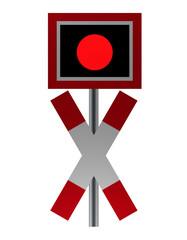 Verkehrszeichen: Andreaskreuz mit Blinklicht, Ansicht von vorne, isoliert auf weiß.