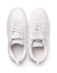 Top view of white leather sport shoes