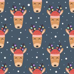 Cute deer heads seamless pattern. Christmas background. Vector illustration