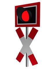 Verkehrszeichen: Andreaskreuz mit Blinklicht, Seitenansicht, isoliert auf weiß.