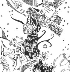 Space illustration. Spaceship flies to alien planet in starry sky. Hand drawn black and white picture.
