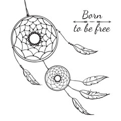 Detailed dreamcatcher with ornament.