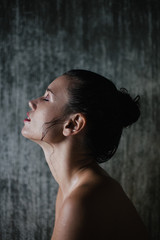 Beautiful woman profile portrait