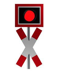 Verkehrszeichen: Andreaskreuz mit Blinklicht, isoliert auf weiß.