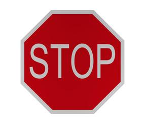 Verkehrszeichen: Halt, Vorfahrt gewähren, isoliert auf weiß.