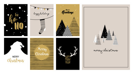 Merry Christmas cards, illustrations and icons, lettering design collection