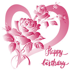 Happy Birthday lettering and rose on white background