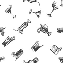Seamless pattern of hand drawn sketch style alcoholic drinks. Vector illustration isolated on white background.