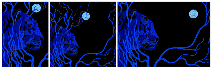 Vector illustration: Blue Tiger and Moon