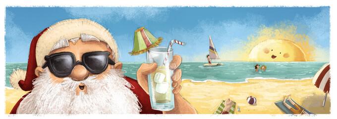 Santa Claus en la playa