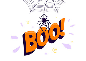 Vector illustration of halloween boo. Spider hanging from web and holding sign