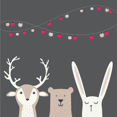 banner with cute winter animals with presents and scarfs. merry chritmas and happy new year