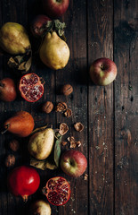 Different kind of fruits on a wooden table
