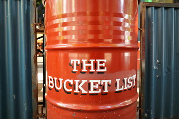 THE BUCKET LIST lettering on a red bin - things to do before you die