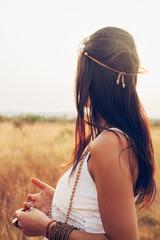 Outdoor Portrait of Pretty Young Brunette Hippie Girl Looking Away