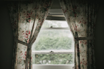 Dark shadowy room looking outside window with vintage floral curtains