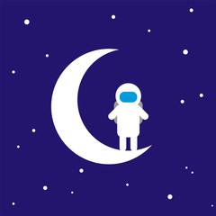 Vector illustration: Little Astronaut on the Moon