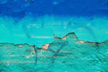 Gradient Blue Graffiti on Ruined Plaster Wall