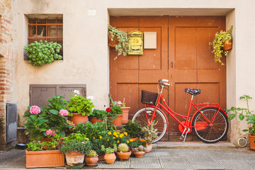 Wooden Gate and Bicycle in a Small Italian Town