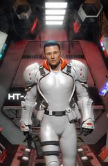 Wall Mural - Futuristic soldier in white uniform