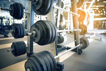 gym indoor interior with dumbbells