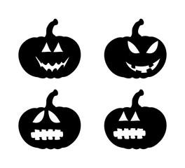 pumpkin smile silhouette set vector symbol icon design. Beautiful illustration isolated on white background