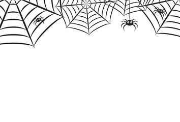 Halloween Spider Web Horizontal Vector Background 1
