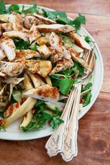 delicious chicken and artichoke salad, with vintage salad servers