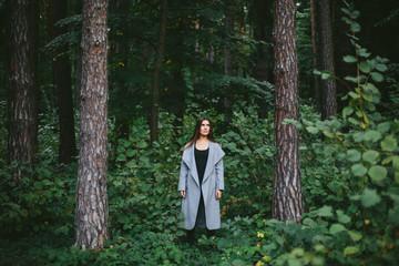 Autumn portrait brunette woman