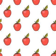 Fresh apple hand drawn vector seamless pattern. Kids background for fabric textile, design greeting cards, wrapping paper, poster, package, print. Vegan fruits market. Autumn harvest. Tropical style.