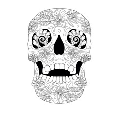 Monochrome sketch of ornate ornamental skull stock vector illustration
