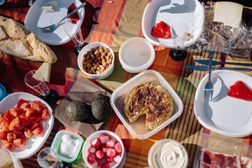 Picnic food on table outdoors