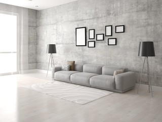 Mock up a modern living room with a comfortable comfortable sofa.
