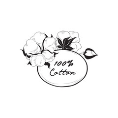 Cotton icon. Natural material sign with flower cotton. Floral frame