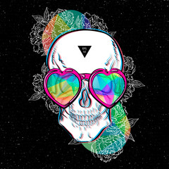 Poster skull for boards. Vector illust