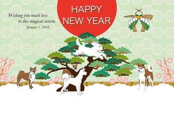 柴犬と松の木の和風年賀状テンプレート戌年2018