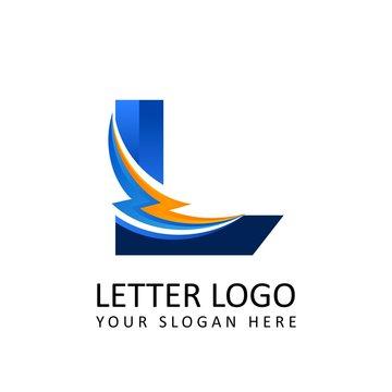 Letter l ELECTRICAL Alphabet Logo