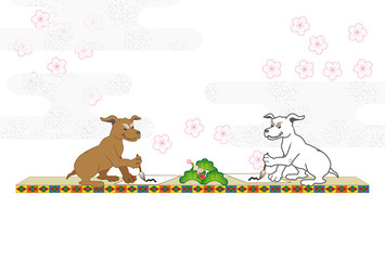 書き初めをする犬のイラストのポストカード