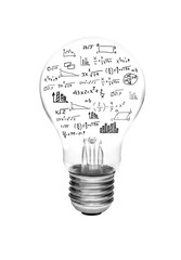 idea concept - light bulbs with bright glowing with math formula and graph isolated on white background.