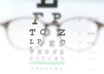 Eye vision test chart seen through eye glasses.