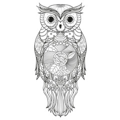 Owl. Design Zentangle. Detailed hand drawn vintage owl with abstract patterns on isolation background. Design for spiritual relaxation for adults. Outline for tattoo, printing on t-shirts, posters