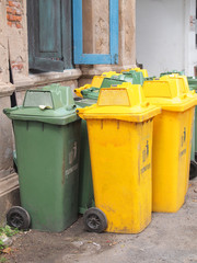 Yellow, green bins , Recycling bins , Public trash