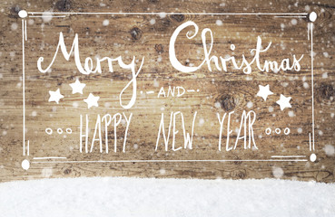 Calligraphy Merry Christmas And Happy New Year, Vintage Background, Snowflakes