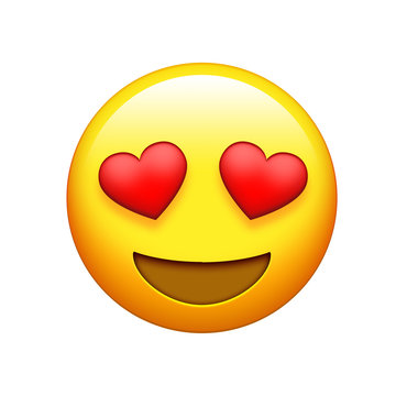 Emoji yellow face red heart eyes and big laugh icon