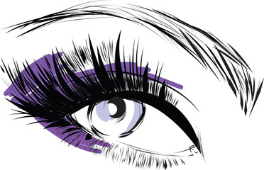 Beautiful woman eye with long eyelashes Vector illustration