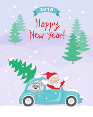 New year 2018 card with santa, dog in auto