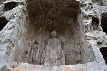 The holes (with Buddha statue inside) -which is more than thousands- around Longmen Grottoes on the hill. Pic was taken in September 2017