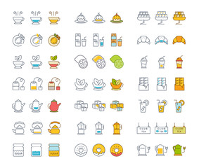Set Vector Flat Line Icons Tea