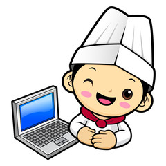 Cook Character and laptop computer. Vector illustration isolated on white background.